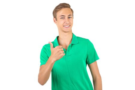 Photo for Portrait of young man in green t-shirt isolated on white background - Royalty Free Image