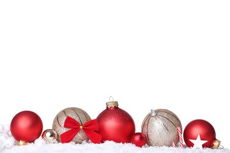 Photo pour Christmas balls with snow and candy on white background - image libre de droit