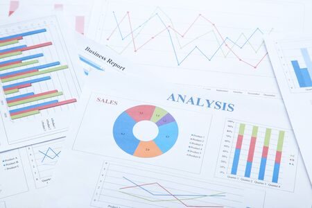 Photo for Financial papers with graph and charts - Royalty Free Image