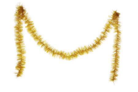 Photo pour Christmas tinsel hanging on white background - image libre de droit