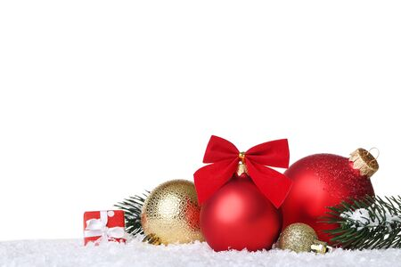 Photo pour Christmas balls with fir tree branches and gift box on white background - image libre de droit
