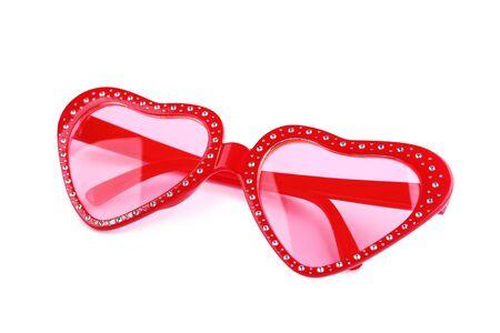Photo pour Heart shaped sunglasses isolated on white background - image libre de droit