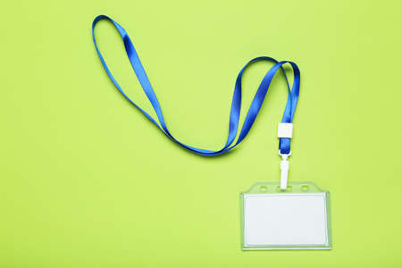 Photo pour Blank white bagde on green background - image libre de droit