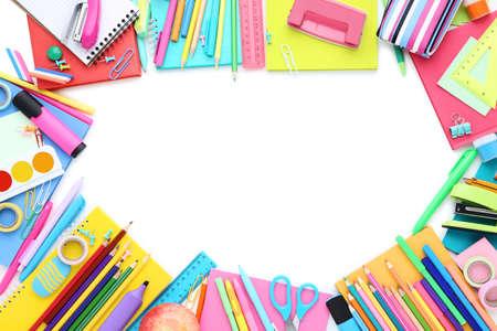 Photo pour Different school supplies isolated on white background - image libre de droit