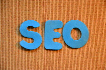 word seo on an abstract background