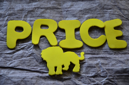 Word price price on an abstract background