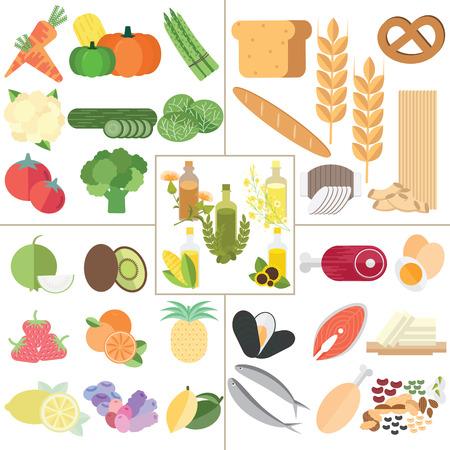 Vektor für The 5 food group nutrition healthy food infographic. - Lizenzfreies Bild