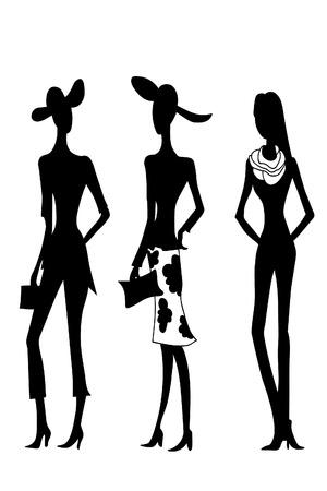 Illustration pour 4 fashion women black silhouettes. Vector sketch image. - image libre de droit