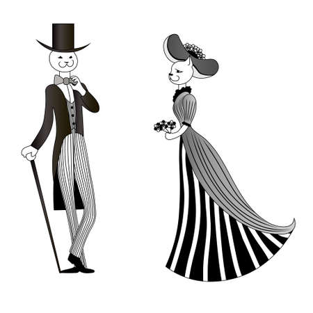 Illustration for Smilimg legant cat in tuxedo and top hat with cane greets lady in hat with bouquet. Vector black and white drawn image. - Royalty Free Image
