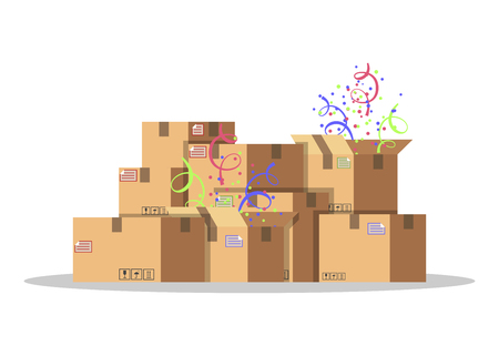 Ilustración de Cardboard boxes for packing and transportation of goods. Delivery service concept. Product packaging. Carton boxes with confetti. Flat style vector illustration isolated on white background. - Imagen libre de derechos