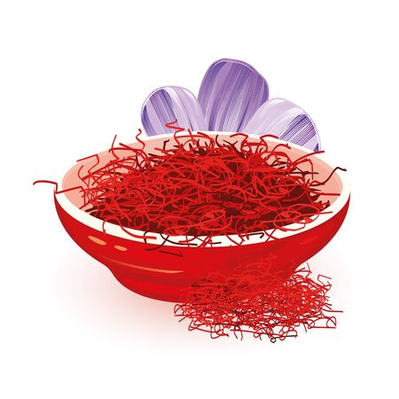 Illustration pour Dry red Saffron is in ceramic bowl near violet flower Crocus, source of this spice, using in cooking and as colouring agent in food. Cartoon vector illustration isolated on white background. - image libre de droit