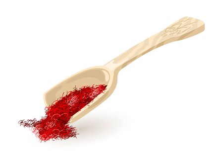 Illustration pour Wooden or plastic scoop with dry saffron. Red spice, condiment using in cooking and as colouring agent spilling out from kitchen shovel. Vector cartoon illustration isolated on white background. - image libre de droit