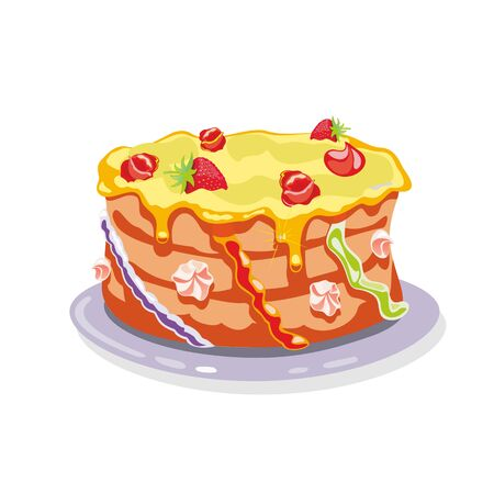 Illustration pour Whole layer torte, gateau, cake garnished with yellow buttercream, strawberries, cream flowers and other colorful decorative elements is on dish. Cartoon vector illustration isolated on white. - image libre de droit
