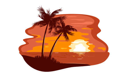 Illustration pour Hiding sun on horizon, summertime, palm tree on desert island. Vector dreamy holiday, relaxation and wild tropical nature landscape, freedom idea isolated on white background - image libre de droit
