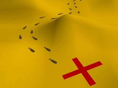 Photo pour 3D map showing footprints on sand to a red X - image libre de droit