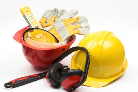 Photo pour Safety gear kit close up - image libre de droit