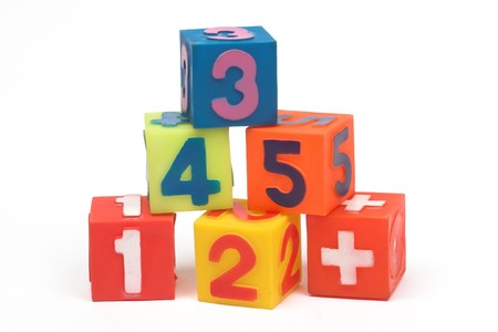 Photo pour Educational blocks with different numbers over white - image libre de droit