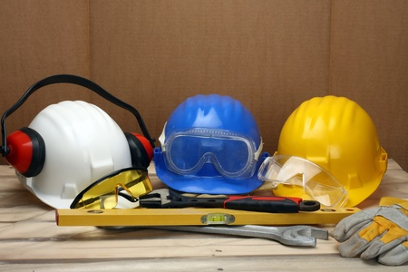 Some worker's helmets close up. Safety concept