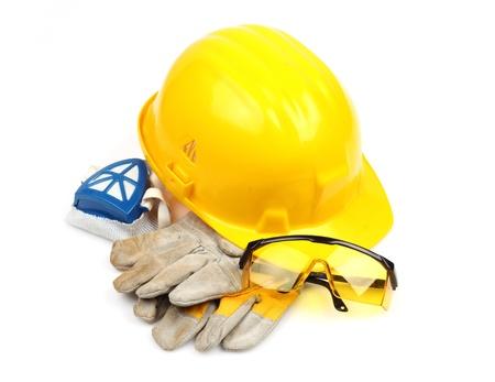 Photo pour Safety gear kit close up over white - image libre de droit