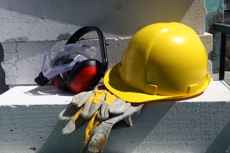 Safety gear kit close up on work place