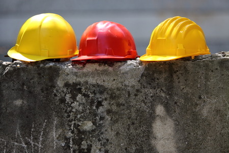 Photo for Safety  equipment three color helmets - Royalty Free Image