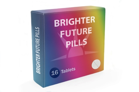 Pill box with medicine tablets to organise daily dose of