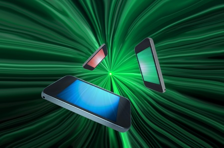 Three blank telecommunication devices with illuminated screens in a variety of colours giving the appearance of moving towards the centre of a green motion zoom effect against a black background.