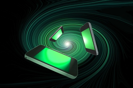 Three blank communication devices with illuminated green screens giving the appearance of moving towards the centre of a green swirl against a black background.