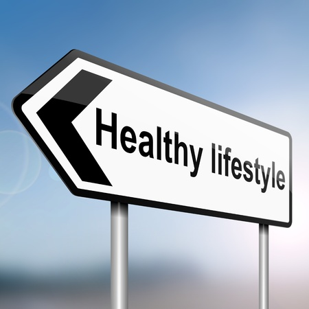 Photo for illustration depicting a sign post with directional arrow containing a healthy lifestyle concept  Blurred background  - Royalty Free Image
