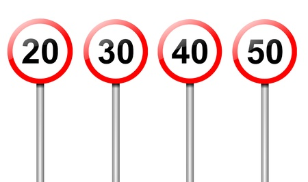 Illustration depicting four speed limit road signs arranged over white