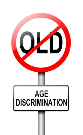 Illustration depicting a road traffic sign with an age discrimination concept  White background