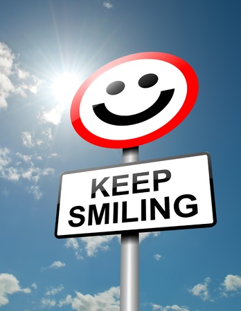 Illustration depicting a road traffic sign with a keep smiling concept  Blue sky and sunlight background