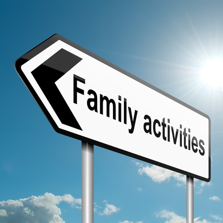 Illustration depicting a road traffic sign with a family activities concept  Blue sky background