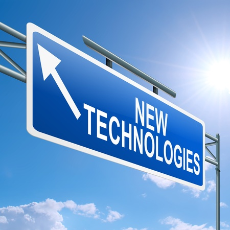 Foto de Illustration depicting a highway gantry sign with a new technologies concept  Blue sky background  - Imagen libre de derechos