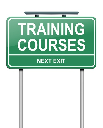 Illustration depicting a green roadsign with a training courses concept. White background.