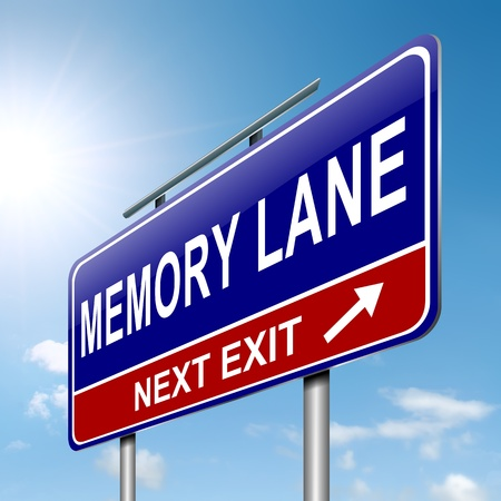 Illustration depicting a roadsign with a memory lane concept  Sky background