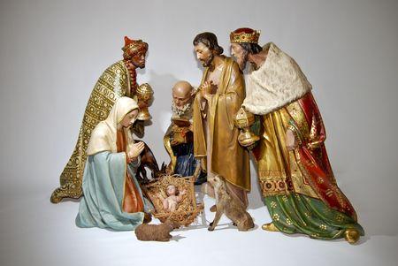 Figurine nativity Christmas scenes.Isolated