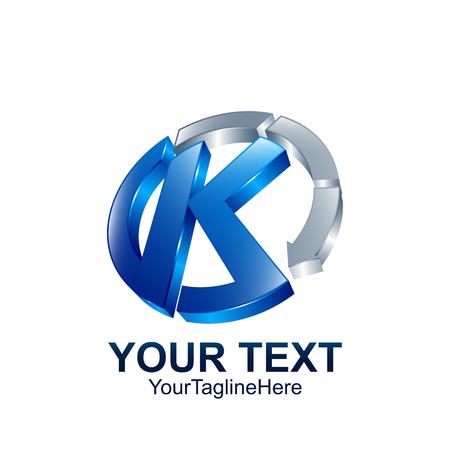 Illustration pour Initial letter K logo template colored blue grey circle arrow design for business and company identity - image libre de droit