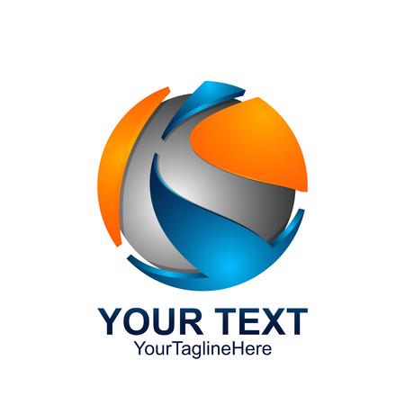 Illustration pour Initial letter K logo template colored blue grey orange circle sphere design for business and company identity - image libre de droit