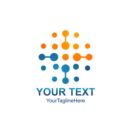 Ilustración de Abstract vector circle logotype. Orange unusual isolated chemistry logo. Virus icon. Orange sunny sun. Flower. - Imagen libre de derechos