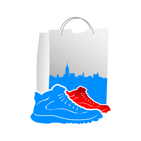 illustration of male shoes with vector design shopping bags