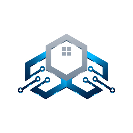 Illustration pour Basic of this logo is house and circuit, this logo try to symbolize a modern home technology - image libre de droit