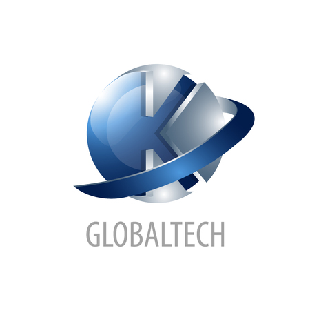 Ilustración de Global Technology. Initial letter K logo concept design. 3D sphere three dimensional style. Symbol graphic template element vector - Imagen libre de derechos