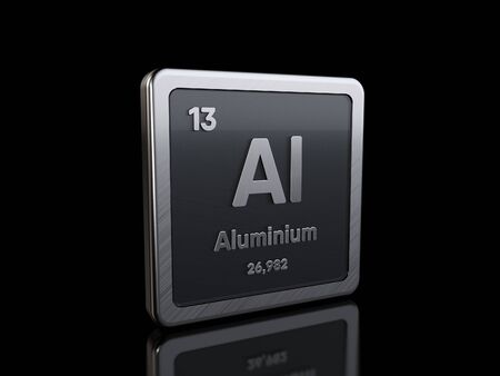 Photo for Aluminum Al, element symbol from periodic table series. 3D rendering isolated on black background - Royalty Free Image