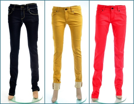 Colored denim jeans in black, yellow and red