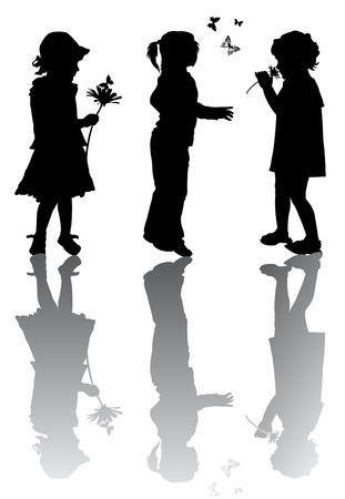 Children silhouettes with flowers and butterfly