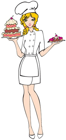 Illustration for Chef Girl with pie and cupcakes - Royalty Free Image