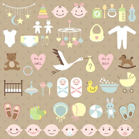 Illustration for Set of baby shower elements. Vector illustration - Royalty Free Image