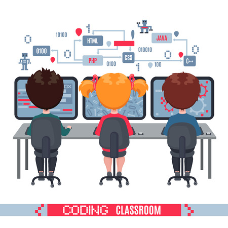 Illustration pour Kids learn coding on laptops in school. Concept of informatics lesson at school. Vector illustration isolated on white background. Design for banner, poster or website. - image libre de droit