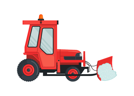 Illustration pour Snow tractor icon in flat style isolated on white. - image libre de droit